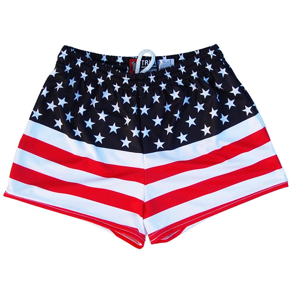 Womens American Flag 50 50 Flag Track Shorts  a5cb462b35